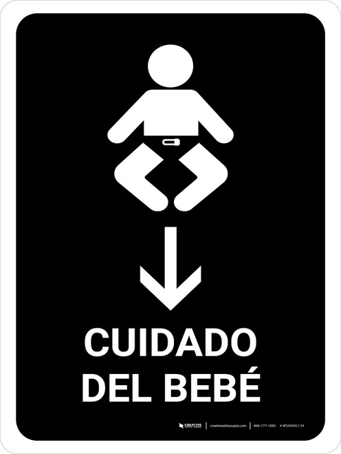 Baby Care With Down Arrow Black Spanish Portrait - Wall Sign