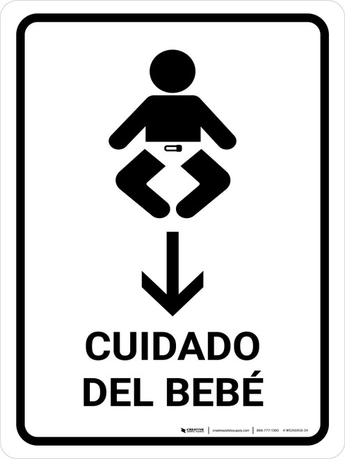 Baby Care With Down Arrow White Spanish Portrait - Wall Sign
