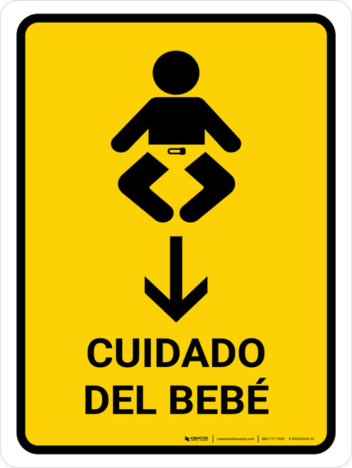 Baby Care With Down Arrow Yellow Spanish Portrait - Wall Sign