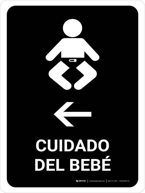 Baby Care With Left Arrow Black Spanish Portrait - Wall Sign