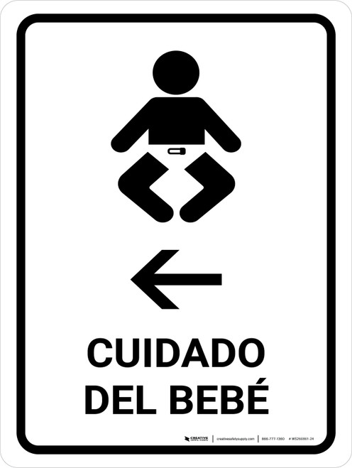 Baby Care With Left Arrow White Spanish Portrait - Wall Sign