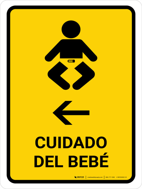 Baby Care With Left Arrow Yellow Spanish Portrait - Wall Sign