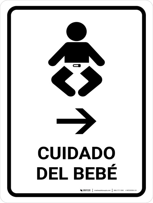 Baby Care With Right Arrow White Spanish Portrait - Wall Sign