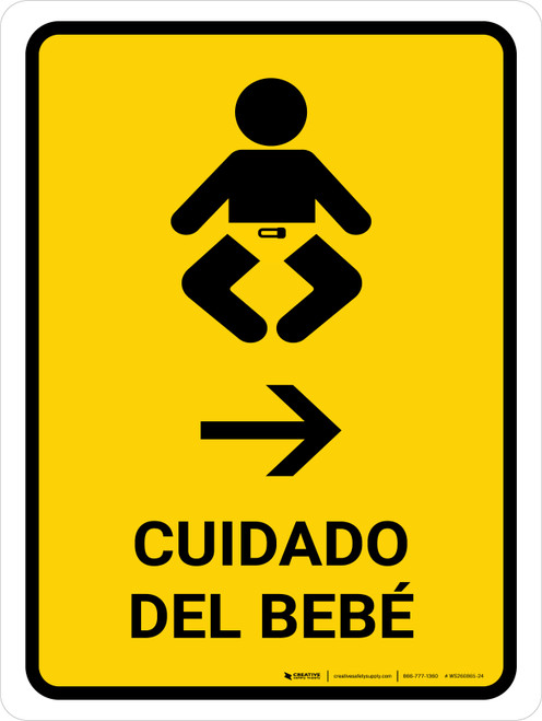 Baby Care With Right Arrow Yellow Spanish Portrait - Wall Sign