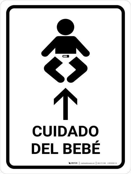 Baby Care With Up Arrow White Spanish Portrait - Wall Sign