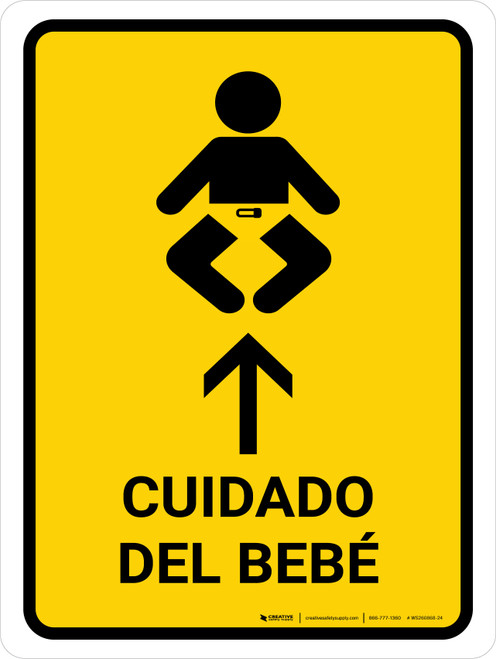 Baby Care With Up Arrow Yellow Spanish Portrait - Wall Sign