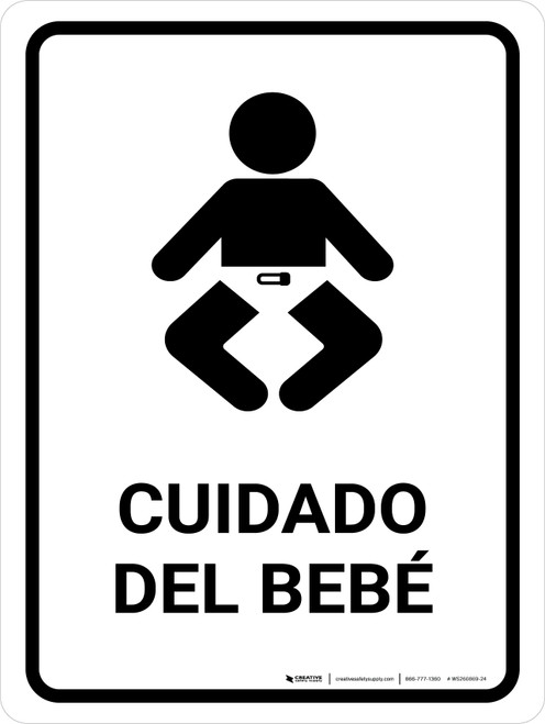 Baby Care White Spanish Portrait - Wall Sign