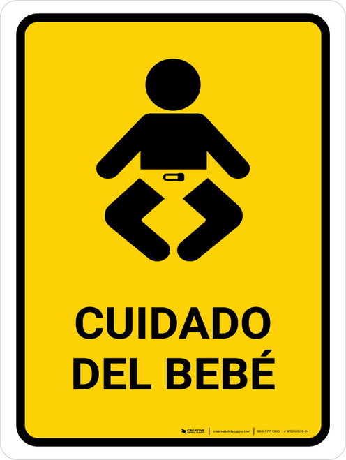Baby Care Yellow Spanish Portrait - Wall Sign
