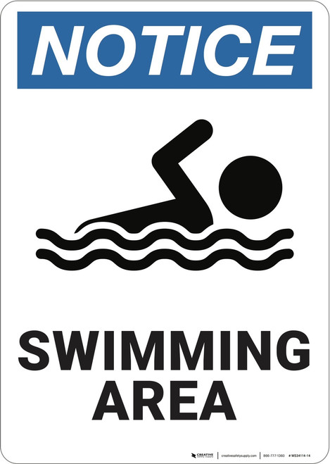 Notice: Swimming Area - Wall Sign