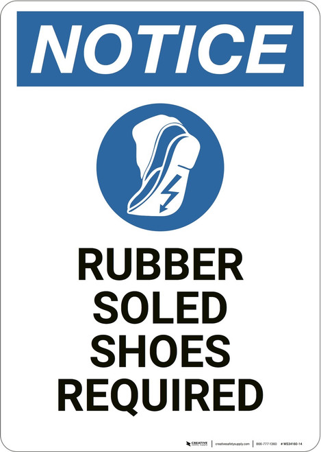 Notice: Rubber Soled Shoes Required - Wall Sign