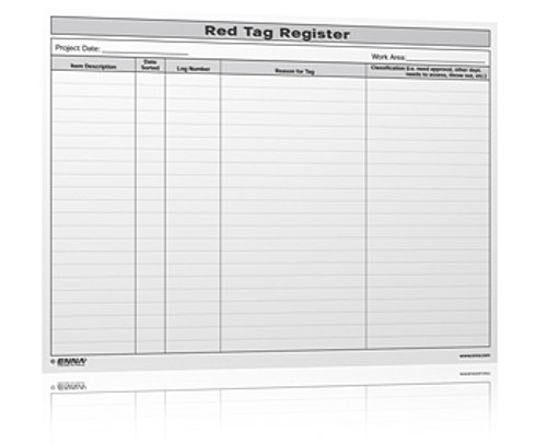 5S Red Tag Register Form We Have Many Different 5s