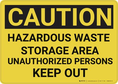 Caution: Hazardous Waste Storage Area Keep Out - Wall Sign