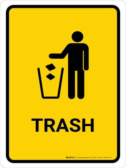 Trash Yellow Portrait - Wall Sign