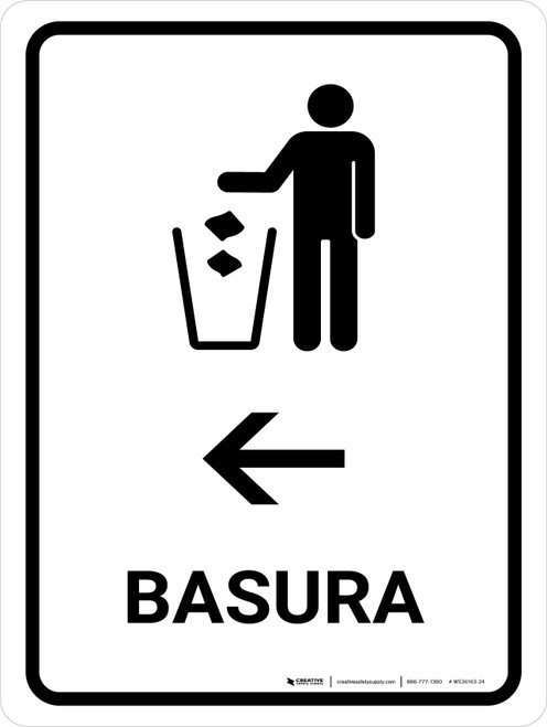Trash With Left Arrow White Spanish Portrait - Wall Sign