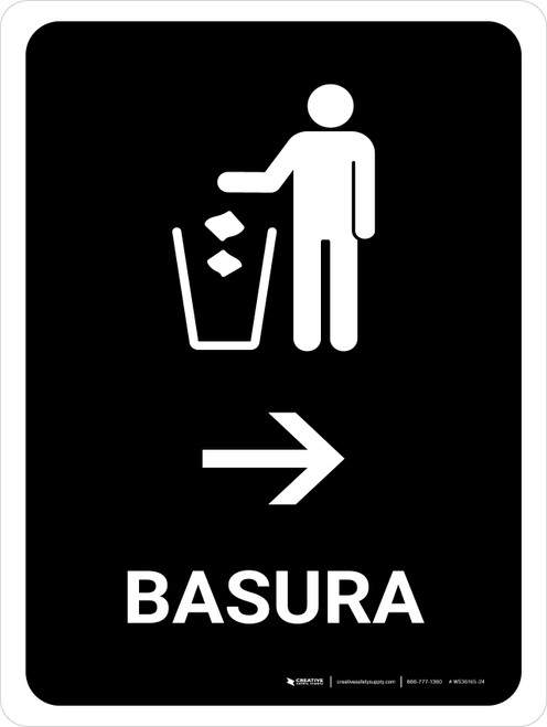 Trash With Right Arrow Black Spanish Portrait - Wall Sign
