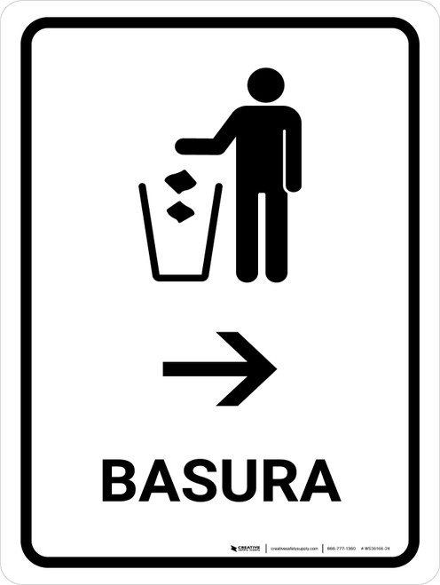 Trash With Right Arrow White Spanish Portrait - Wall Sign