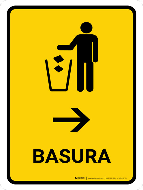 Trash With Right Arrow Yellow Spanish Portrait - Wall Sign