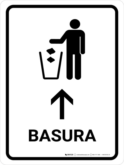 Trash With Up Arrow White Spanish Portrait - Wall Sign