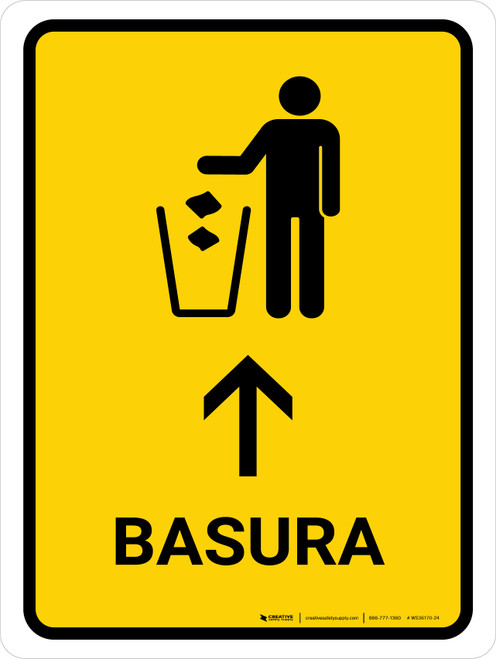 Trash With Up Arrow Yellow Spanish Portrait - Wall Sign