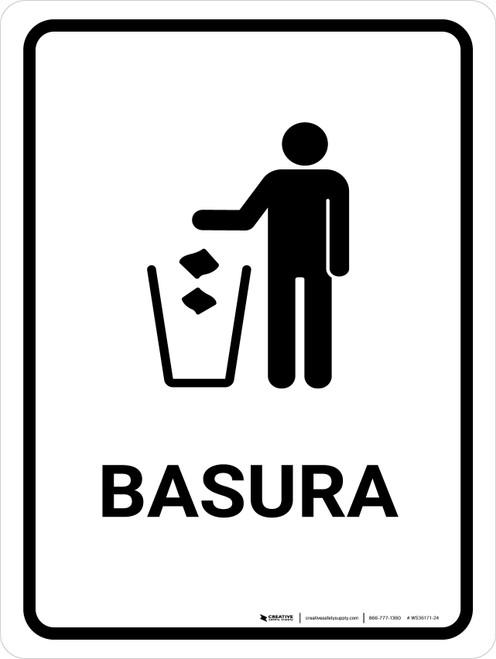 Trash White Spanish Portrait - Wall Sign