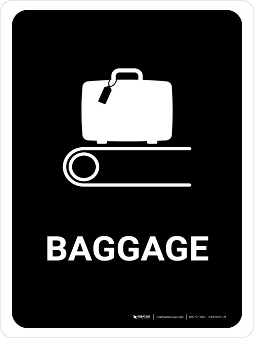 Baggage Black Portrait - Wall Sign