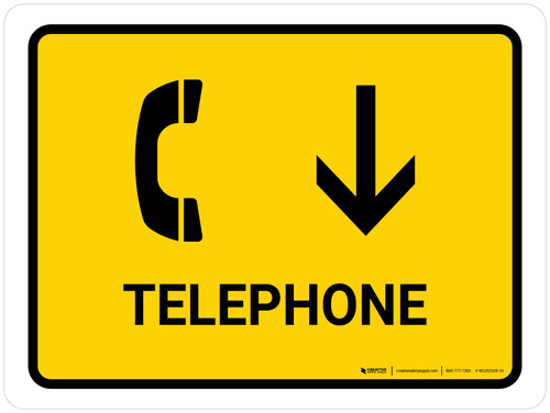 Telephone With Down Arrow Yellow Landscape - Wall Sign