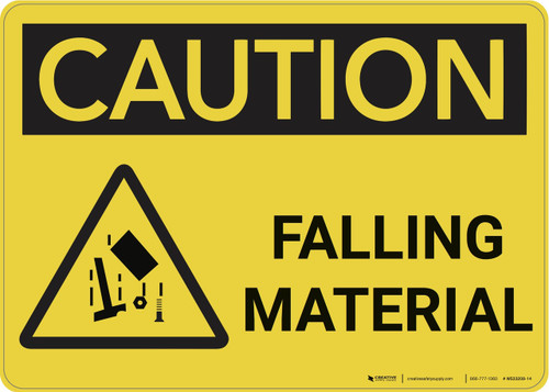 Caution: Falling Material With Graphic - Wall Sign