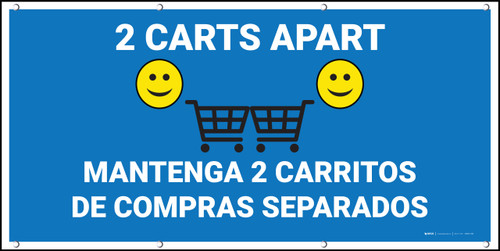 2 Carts Apart with Emojis Bilingual Blue - Banner