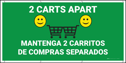 2 Carts Apart with Emojis Bilingual Green - Banner