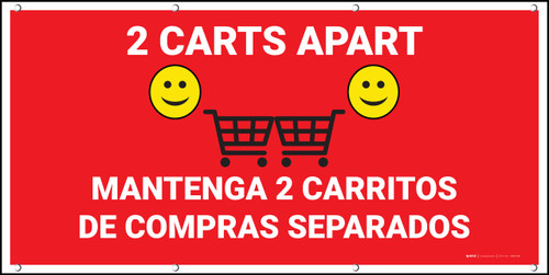 2 Carts Apart with Emojis Bilingual Red - Banner