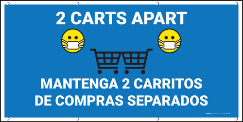 2 Carts Apart with Facemask Emojis Bilingual Blue - Banner
