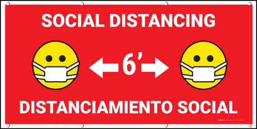 Social Distancing Bilingual Red with Facemask Emojis - Banner