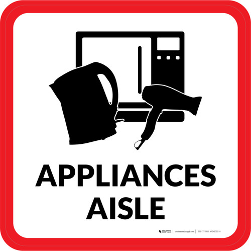 Appliances Aisle with Icon Square - Floor Sign