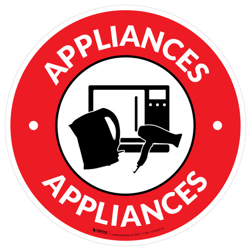 Appliances with Icon Circle - Floor Sign