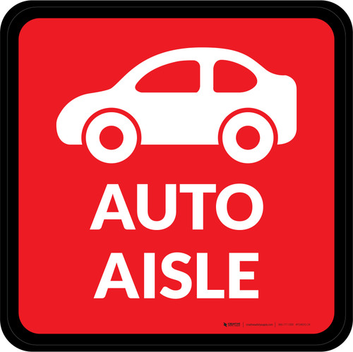 Auto Aisle with Icon Square - Floor Sign