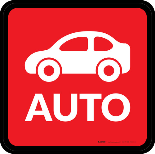 Auto with Icon Square - Floor Sign