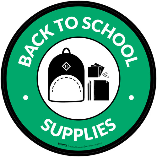 Back to School Supplies with Icon Circle - Floor Sign