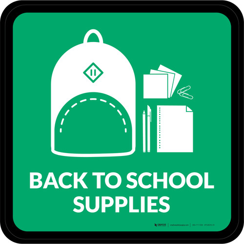 Back to School Supplies with Icon Square - Floor Sign