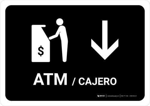 ATM With Down Arrow Black Bilingual Landscape - Wall Sign