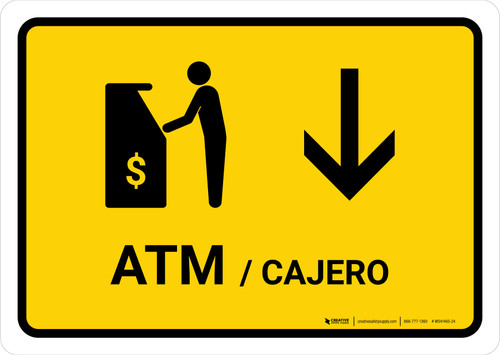 ATM With Down Arrow Yellow Bilingual Landscape - Wall Sign