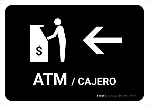 ATM With Left Arrow Black Bilingual Landscape - Wall Sign