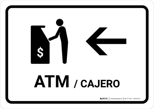 ATM With Left Arrow White Bilingual Landscape - Wall Sign