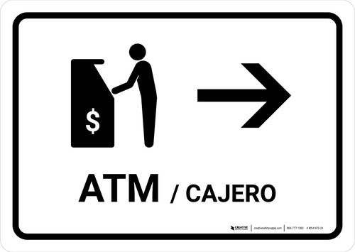 ATM With Right Arrow White Bilingual Landscape - Wall Sign