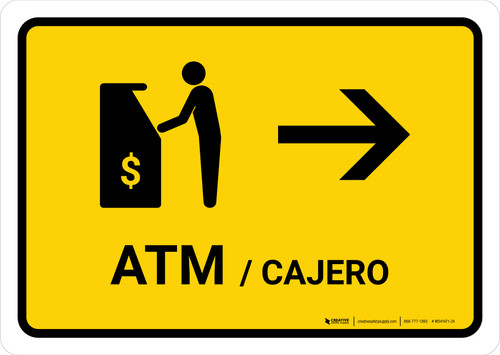 ATM With Right Arrow Yellow Bilingual Landscape - Wall Sign