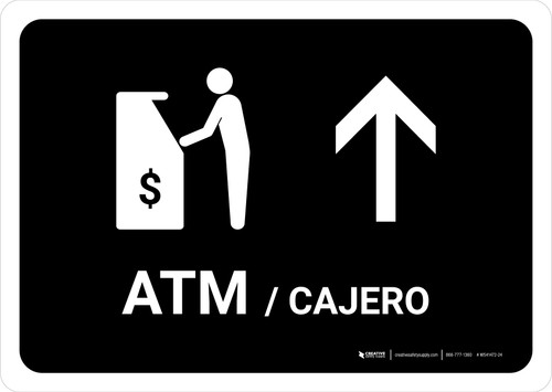 ATM With Up Arrow Black Bilingual Landscape - Wall Sign