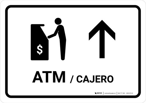 ATM With Up Arrow White Bilingual Landscape - Wall Sign