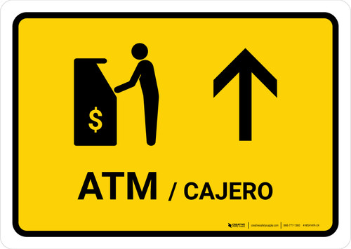 ATM With Up Arrow Yellow Bilingual Landscape - Wall Sign