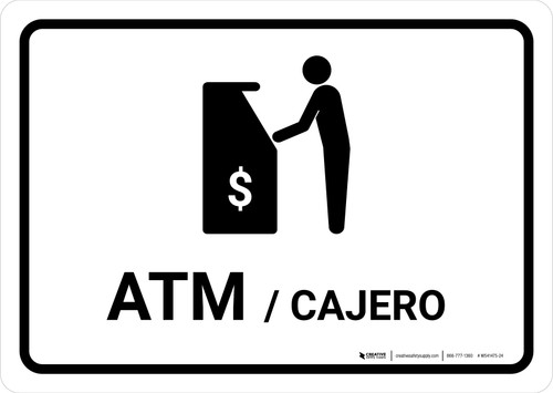 ATM White Bilingual Landscape - Wall Sign
