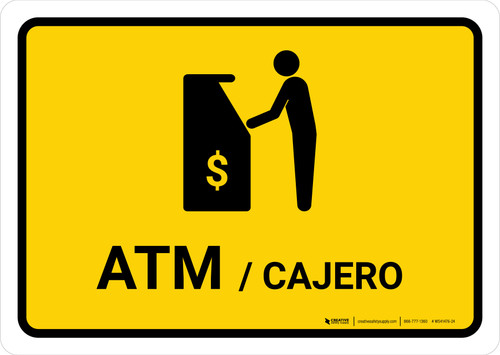 ATM Yellow Bilingual Landscape - Wall Sign