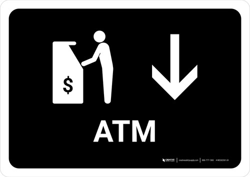 ATM With Down Arrow Black Landscape - Wall Sign